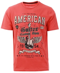 Sth Shore Burnt Sienna Red Guitar Custom Motif Cotton Jersey T-Shirt