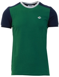 Hunter Green Padfield T-Shirt With Contrast Sleeves by Le Shark