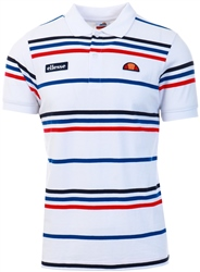 Ellesse White Lewoodio Stripe Polo
