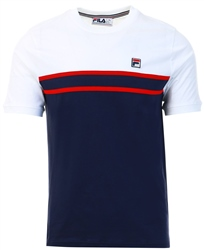 Peacoat / White / Chinese Red Stripe T-Shirt by Fila