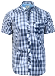 Ben Sherman Dark Blue Short Sleeve Gingham Shirt