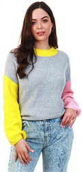 Noisy May Light Grey Marl Round Neck Knit