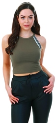 Noisy May Dusty Olive / Green Rib Crop Sleeveless Top