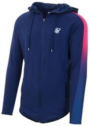 Siksilk Navy & Neon Fade Fade Panel Zip Through Hoodie
