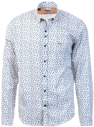 Dario Beltran White Printed Long Sleeve Shirt