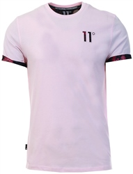 11degrees Powder Pink/Floral Logo T-Shirt