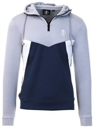 Gym King Grey Marl/Navy/White Climb Poly Half Zip Through Tracksuit Top