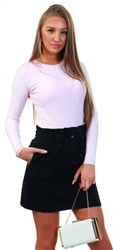 Qed Lilac Ribbed Knit Crew Jumper
