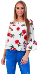 Qed White/Red Floral Print Frill Sleeve Top