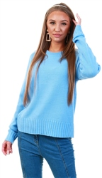 Qed Blue Knit Crew Jumper