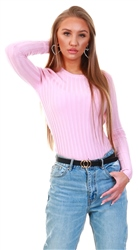 Qed Pink Ribbed Knit Crew Jumper