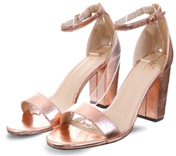 4th & Reckless Rose Gold Foil Sarah Basic Single Strap Block Heel Sandal