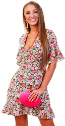 Ax Paris Pink Floral Frill Dress