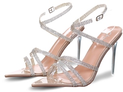No Doubt Nude Patent Diamante Strap Heel