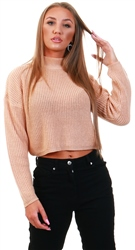 Brave Soul Biscuit Cropped Knit Jumper