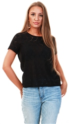 Jdy Black / Black Detailed Short Sleeved Top