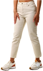 Stone / Ecru Emily High Waist Straight Jeans by Only