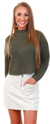 Brave Soul Light Khaki Cropped Knit Jumper
