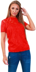 Vila Red / Flame Scarlet Lace Short Sleeved Top