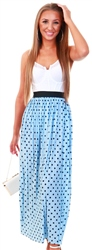 Only Cashmere Blue Printed Pleated Midi Skirt