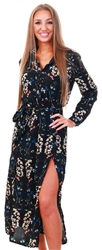 Ax Paris Black Floral Print Long Sleeve Shirt Maxi Dress