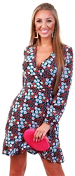 Ax Paris Floral Print Wrap Front Dress
