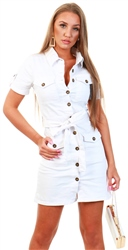 Parisian White Button Up Front Denim Bodycon Shirt Dress