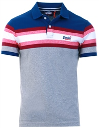 Blue Stripe Organic Cotton Malibu Stripe Polo Shirt by Superdry
