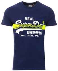 Superdry Rich Navy Vintage Logo Cross Hatch T-Shirt
