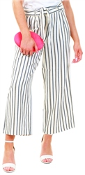 Only White / Cloud Dancer Striped Trousers