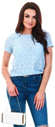 Jdy Blue / Cashmere Blue Detailed Short Sleeved Top