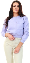Daisy St Lilac Cropped Pocket Crew Sweater