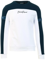 Shadow Project White/Navy Conte Crew Sweater