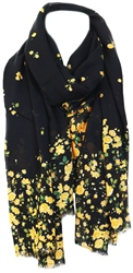 Only Black / Black Floral Printed Scarf