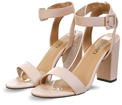 Krush Nude Block Heel Barely There Shoe
