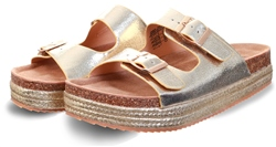 Refresh Gold Metallic Flatform Espadrille Sandal