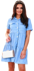Qed Denim Blue Buttoned Short Sleeve Shirt Dress
