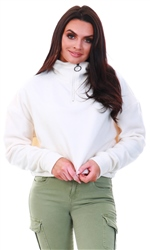 Brave Soul Cream Half Zip Fleece