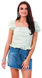 Qed Mint Floral Short Puff Sleeve Frill Top