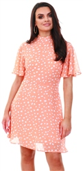 Qed Coral Spot Print Short Dress