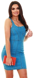 Parisian Light Blue Denim Zip Up Bodycon Mini Dress