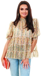 Qed Stone Pattern Print Layered Top