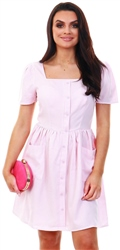 Qed Pink Gingham Print Tea Dress