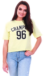 Brave Soul Yellow Printed Crop T-Shirt