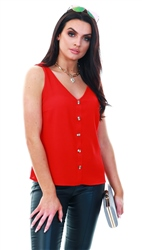 Veromoda Red / Goji Berry Sleeveless Top