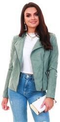 Only Green / Chinois Green Faux Suede Biker Jacket