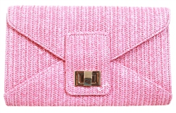 Koko Blush Woven Clutch Bag