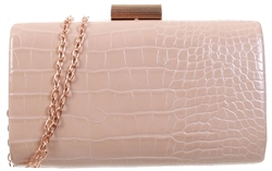 Koko Nude Croc Pu Clutch Bag