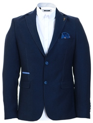 Fratelli Navy Tweed Textured Blazer