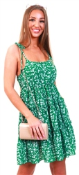 Qed Green Floral Strappy Frill Dress